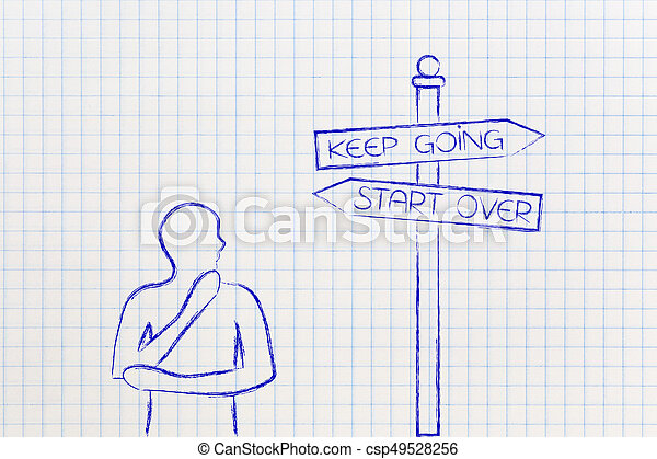doubtful man next to road sign Keep Going or Start Over - csp49528256
