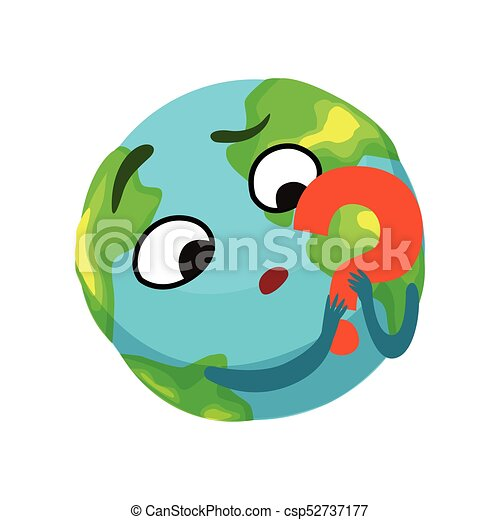 doubting earth planet character holding red question mark rh canstockphoto com Space Stars Clip Art Space Stars Clip Art