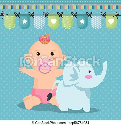 Douche Bébé Petite Fille Carte