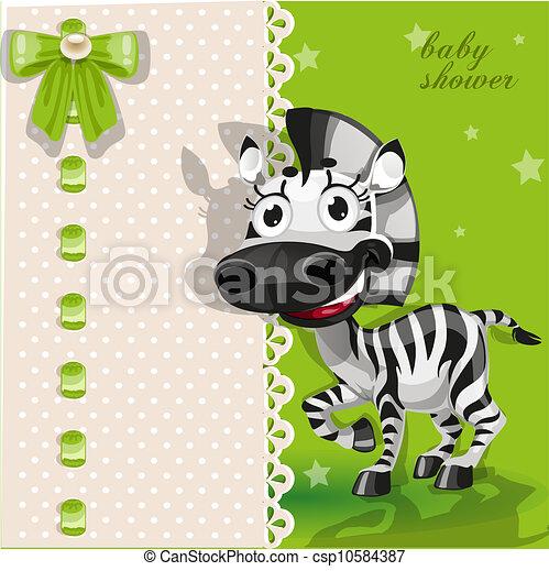 douche, baby, groene, zebra, kaart - csp10584387