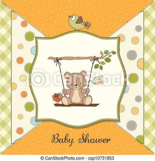 douche, baby, kaart, beer, teddy - csp10731853