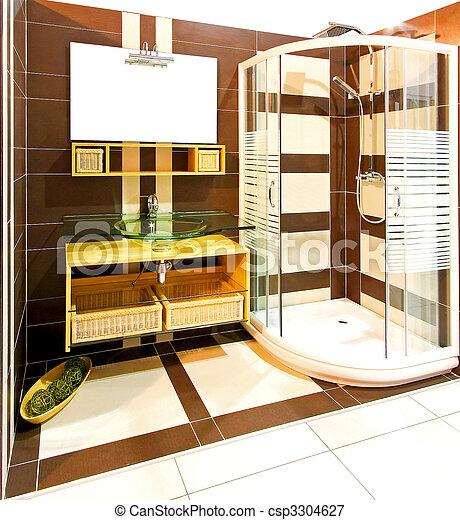 Douche, bruine , badkamer. Bruine , badkamer, deur, douche,... beeld ...