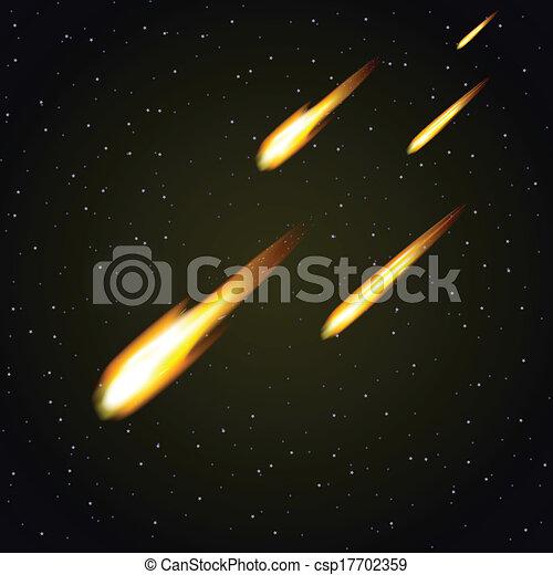 douche, fond, (vector), espace, sombre, météore - csp17702359