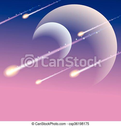 douche, futuriste, météore, fond - csp36198175