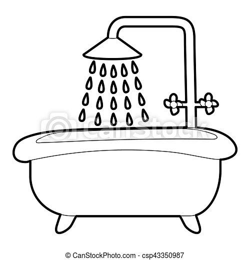 Douche ic ne style contour bain toile contour - Douche coloriage ...