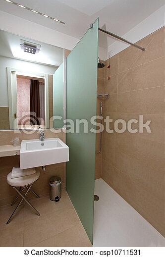 Douche, moderne. Groot, badkamer, muur, moderne, douche, glas ...