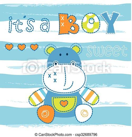 douche, nijlpaard, weinig; niet zo(veel), baby, schattig - csp32689796