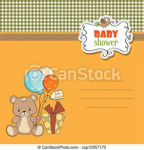 douche, schattig, baby, kaart, teddy - csp10357170