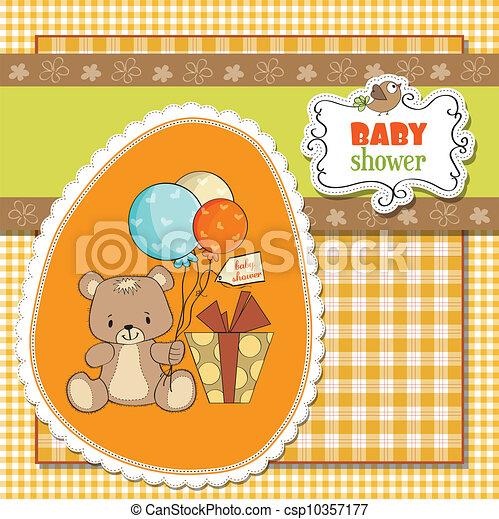 douche, schattig, baby, kaart, teddy - csp10357177