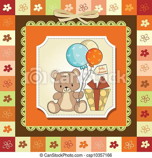 douche, schattig, baby, kaart, teddy - csp10357166