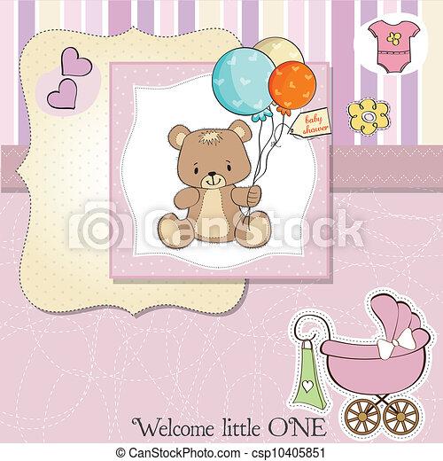 douche, schattig, baby, kaart, teddy - csp10405851