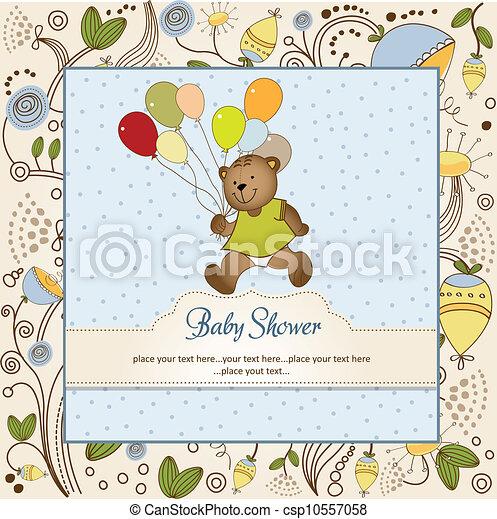 douche, schattig, baby, kaart, teddy - csp10557058
