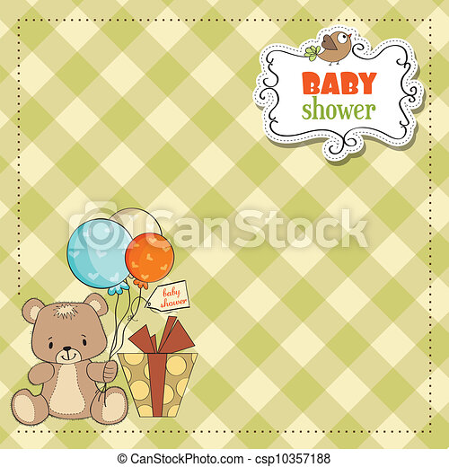 douche, schattig, baby, kaart, teddy - csp10357188