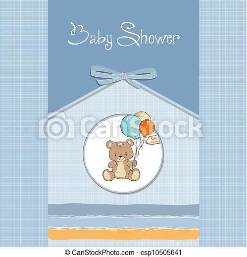 douche, schattig, baby, kaart, teddy - csp10505641