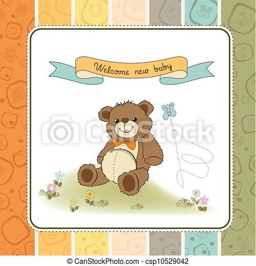 douche, schattig, baby, kaart, teddy - csp10529042