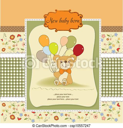 douche, schattig, baby, kaart, teddy - csp10557247