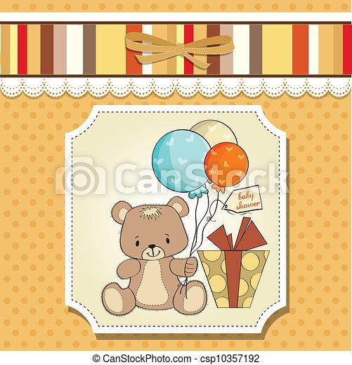 douche, schattig, baby, kaart, teddy - csp10357192