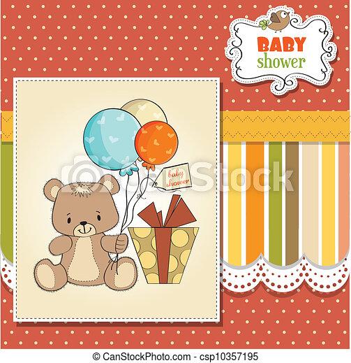 douche, schattig, baby, kaart, teddy - csp10357195