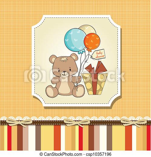 douche, schattig, baby, kaart, teddy - csp10357196