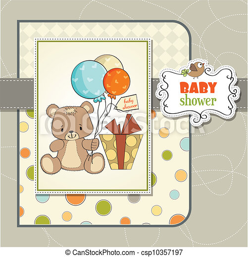 douche, schattig, baby, kaart, teddy - csp10357197