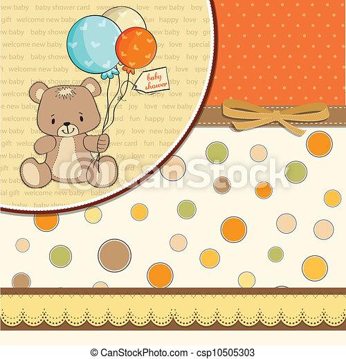 douche, schattig, baby, kaart, teddy - csp10505303