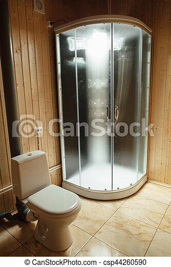 Douche, toilette, moderne, cabine, illumination.