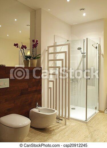 Douche, toilette, moderne. Toilette, gros plan, bidet, éclairage ...