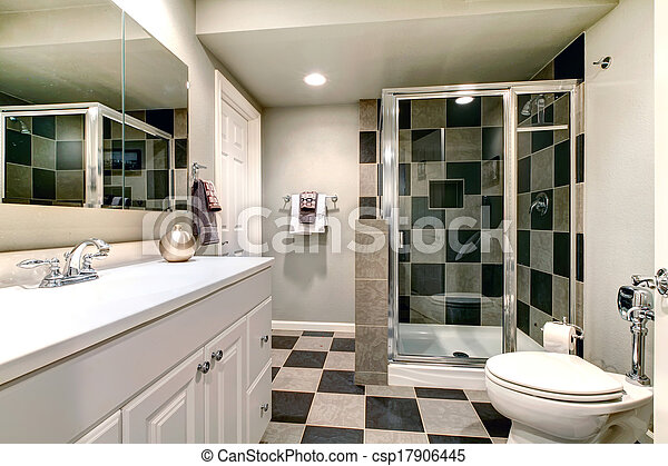 douche, verre, blanc, salle bains