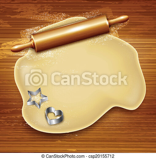 Dough, rolling pin, cookie cutters on the wood. Vector - csp20155712