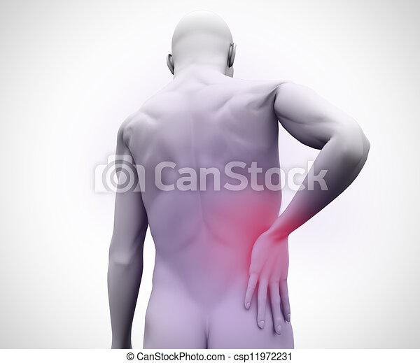 douleur, homme, numérique, dos - csp11972231