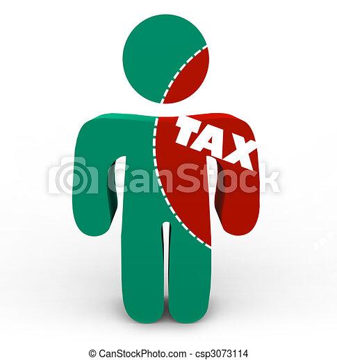 douleur, impôt, -, impôts, personne, coupure - csp3073114
