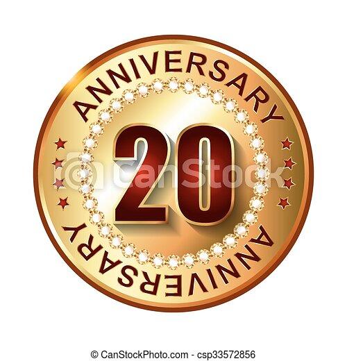 dourado, 20, aniversário, label., anos - csp33572856