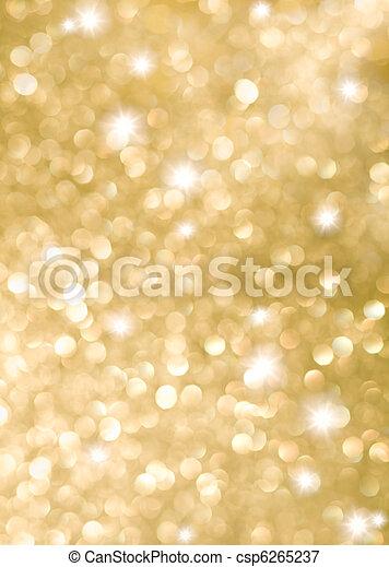 dourado, abstratos, feriado, fundo, luzes - csp6265237