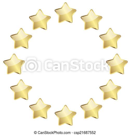 dourado, círculo, estrelas - csp21687552