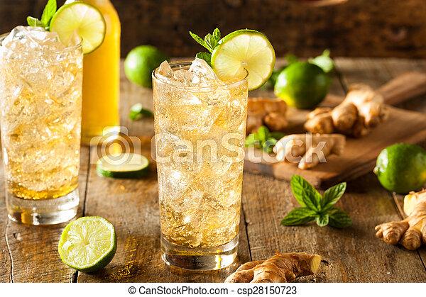 dourado, cerveja, refrescar, gengibre - csp28150723