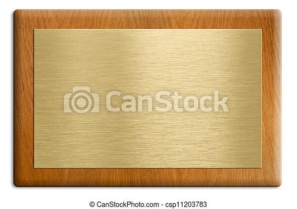 dourado, cortando, prato, madeira, isolado, white., included., caminho, placa - csp11203783
