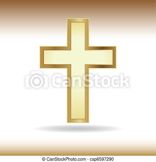 dourado, crucifixos - csp6597290