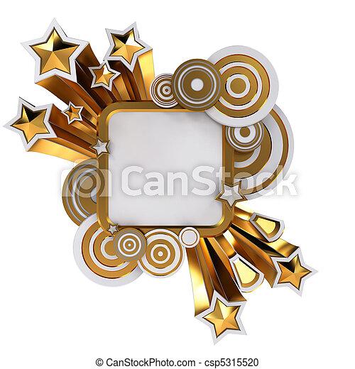 dourado, estilo, espaço, discoteca, fundo, branca, cópia, bandeira - csp5315520