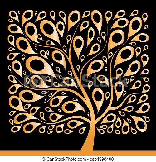 dourado, forma, quadrado, árvore, bonito - csp4398400
