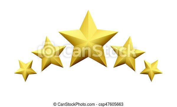 dourado, jogo, estrela, experiência., isolado, ilustração, metálico, realístico, vetorial, branca - csp47605663