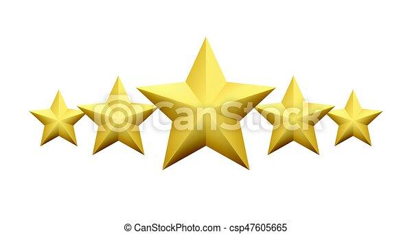 dourado, jogo, estrela, experiência., isolado, ilustração, metálico, realístico, vetorial, branca - csp47605665