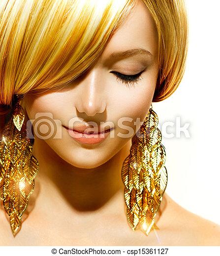 dourado, moda, loiro, beleza, brincos, modelo, menina - csp15361127
