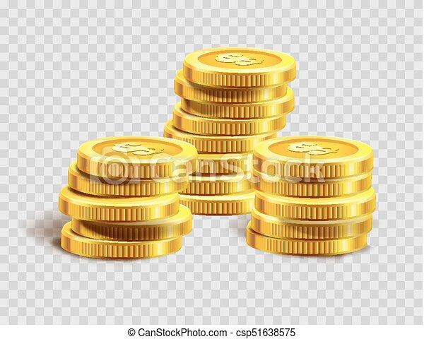 dourado, ouro, dinheiro, moedas, dólar, ou, pilha, moeda, heap., banco - csp51638575