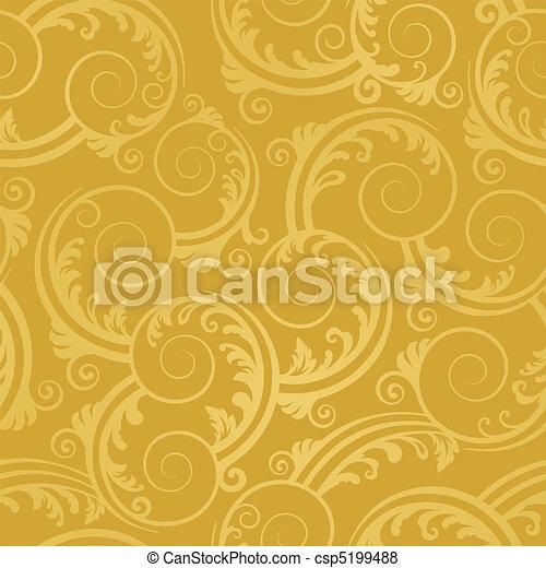 dourado, redemoinhos, papel parede, seamless - csp5199488
