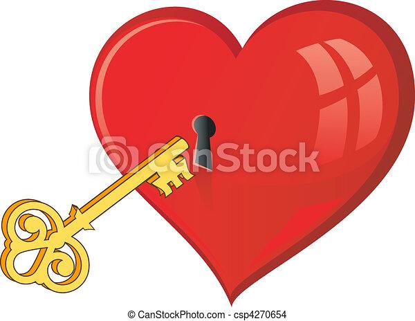 dourado, tecla, abre, coração - csp4270654