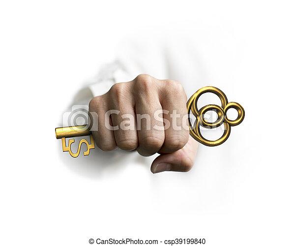 dourado, tecla, tesouro, dólar, mão, forma, segurando, sinal - csp39199840