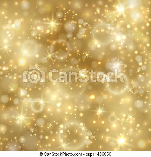 dourado, twinkly, estrelas, fundo, luzes - csp11486050