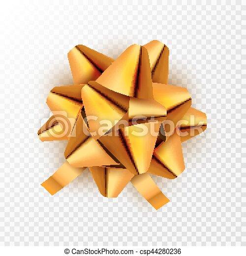 dourado, vetorial, card., presente, festivo, isolated., ilustração, arco, decoração, aniversário, ouro, feriado, fita, celebração - csp44280236