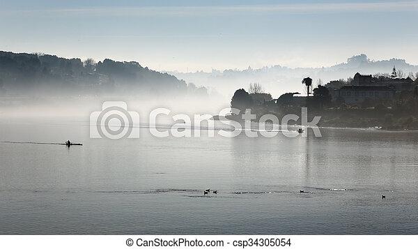 douro, rivière, brume, matin - csp34305054