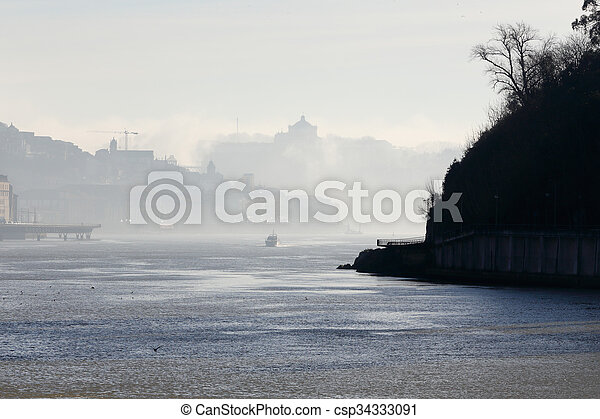 douro, rivière, brume, matin - csp34333091